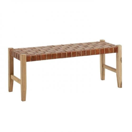 Khalisi Genuine Leather Timber Bench Seat - Brown by Interior Secrets - AfterPay Available by
