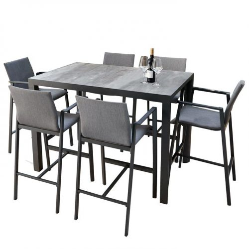 Memphis Bronte 1.4m Ceramic Outdoor Bar Dining Set - Charcoal by Interior Secrets - AfterPay Available by