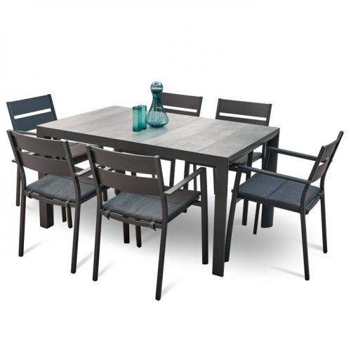 Memphis Carolina 1.4m Ceramic Outdoor Dining Set - Charcoal by Interior Secrets - AfterPay Available by