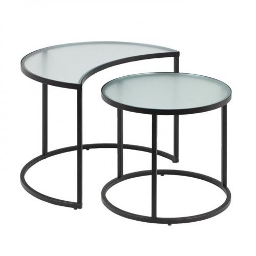 Bast Glass Nested Side Tables - Black by Interior Secrets - AfterPay Available by